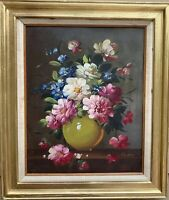 Original Vintage Oil Painting On Canvas board, Still life, flowers, signed