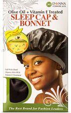 Donna Collection Olive Oil - Vitamin E Treated Sleep Cap - Bonnet Black 1 ea 4pk