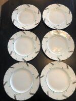RARE Art Deco Myott 6 Dinner Plates Green Silver Geometric Vintage 1930s China