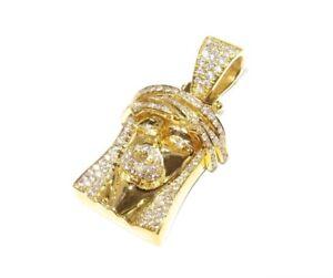 14k Yellow Gold 1.50ct Round Cut Prong Set White Diamond Small Jesus Pendant