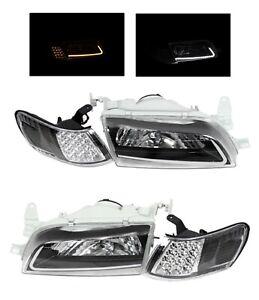 Fit For 93 97 Toyota Corolla JDM Black Headlights Lamps LH RH LED Stripe Corner