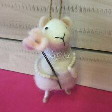 Flower Girl Mouse Wool With Lace Holding Gisela Graham Easter Decoration Felt