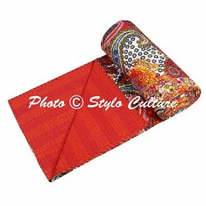 Indian Bedding Quilt Cover Handmade Reversible Kantha Bedspread Coverlet Throw