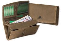 Woodland® Damen Geldbörse im Querformat in Dunkelbraun aus naturbelassenem Leder