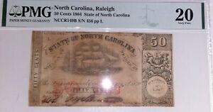 1864 50 cent Confederate Bill Civil War Currency PMG Grade Very Fine