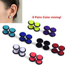 16x/8Pair Fake Cheater Acrylic Earring Stud Barbell Ear Plug Earlet Gauges Taper