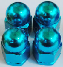 """Old school BMX bicycle acorn axle nuts 3/8"""" X 26T (SET OF 4) BRIGHT DIP BLUE"""