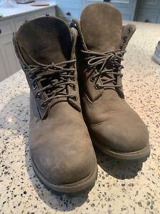 Timberland unisex leather walking boots UK8 khaki green/brown