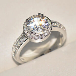 2.66 TCW Round Cut Moissanite Halo Engagement Ring In 14k White Gold Plated