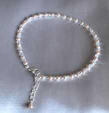 Champagne Pearl and Shiny Fire Polished Crystal Bead Ankle Bracelet 9 to 10 Inch