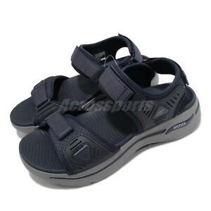 Skechers Go Walk Arch Fit Sandal Navy Blue Grey Strap Men Shoes 229020-NVBL