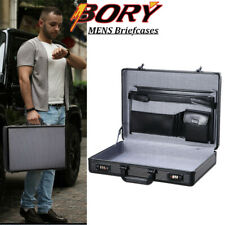 Black Aluminum Hard Case Mens Office File Briefcase for Ipaid 15.6'' Laptop Box