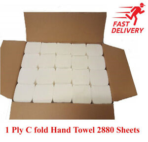 Luxury White 1 Ply C Fold Paper Hand Towels Multi fold Case of 2400