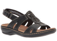 Clarks Women's Leisa Vine Black Leather sandals