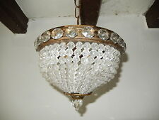 ~c 1920 French Petit Small Crystal Beaded Dome Jewel encrusted Chandelier~