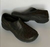 Merrell Air Cushion Women's 6.5 Black with Tan Floral Slip On Shoes Sneakers