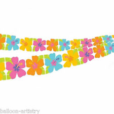 2.43m Tropical Luau Party Paper Hibiscus Flower Cutout Garland Decoration