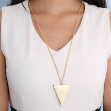 Hot Vintage Women Punk Jewelry Gold Triangle Pendant Long Chain Sweater Necklace