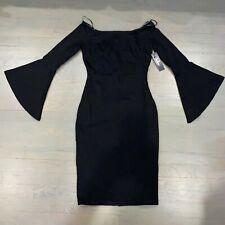 Lulus Long Sleeve Bell Sleeve Bodycon Dress Black Size Small New