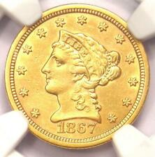 1867-S Liberty Gold Quarter Eagle $2.50 - Certified NGC AU Details - Rare Date!