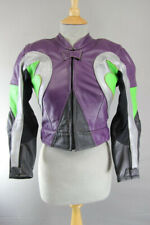 SUPERB PURPLE, BLACK, SILVER & GREEN LEATHER BIKER JACKET WITH ARMOUR 30 INCH