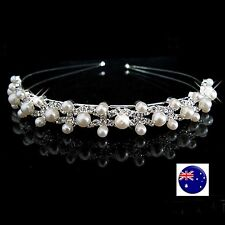 Women Girls Wedding Crystal Pearl Hair Band Headband Hoop Tiara Crown headpiece