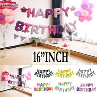 """Happy Birthday 16"""" INCH Self Inflating Banner Balloon Bunting Party Decoration"""