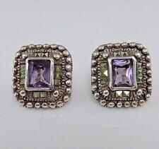 Vintage Sterling Amethyst Marcasite Post Earrings Large.