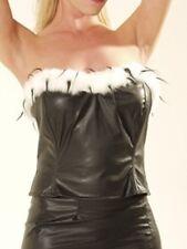 Ladies Black Gothic Leather Look Cruella De Ville Basque With Fur Trim Size 10