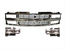 For 1994-1998 Chevy C1500 C2500 C3500 Pickup Grille Chrome Headlight Set 3 pcs