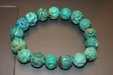 CHINESE CARVED TURQUOISE SHOU BEAD BRACELET 11-13MM ROUND BEADS FOR NECKLACE
