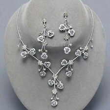 Silver rose necklace set crystal diamante jewellery earrings sparkly proms 0208