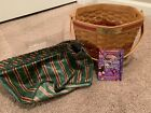 Longaberger 1997 Christmas Snowflake Green Basket with liner and protector