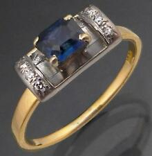 Vintage SAPPHIRE DIAMOND 18k Solid Yellow GOLD SOLITAIRE & ACCENTS RING Sz Q1/2