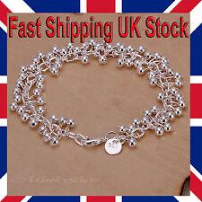 "Ladies 925 Silver Ball Bracelet Chain Link Grape Bead 7.75"" Free Gift Bag"