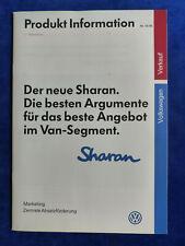 VW Sharan Carat VR6 - interne Produkt-Information - Prospekt Brochure 10.1995
