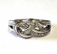 New 925 sterling silver .14ct VS H diamond crossover weave cluster ring 5.2g