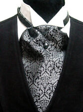 Cravat Ascot Wedding Old West Vintage Victorian style tie Black Gray new