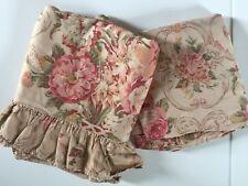 Vintage Ralph Lauren Guinevere Ruffled Full Flat & Fitted Sheet Tan Pink Green