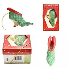 Vintage Just the right size club, Bejeweled Green & Red Shoe Christmas Ornament