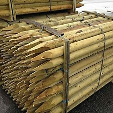 Fencing Stake 1.2Mx50mm. Machine rounded 4ft treated wooden timber 10 PACK