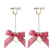 Korean Ribbon Bowknot Love Heart Dangle Earrings Ear Clips Minimalist Jewelry