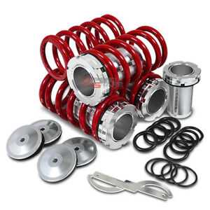 "FOR HONDA/ACURA 1""-4"" ADJUSTABLE ALUMINUM SLEEVES RED SUSPENSION COILOVER SPRING"