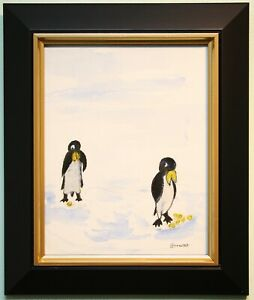 Irish Art Original Framed Watercolour Painting THE PENGUINS by Artist BOB BROWNE
