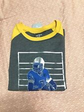 Boys Carters T-shirt Nwt Size 5 Gray With Yellow Sleeve Football.100% Cotton