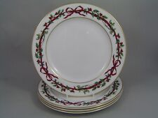 "SET OF FOUR ROYAL WORCESTER ""HOLLY RIBBONS"" 8""/20CM DESSERT/SALAD PLATES."