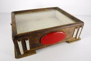 Vintage Tabletop Counter Glass Slide Top Display Case Wood Cabinet Folk Art