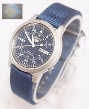 (Gift) + SNK807K2 SEIKO 5 Military Style Automatic Men's Blue Watch Brand New !!