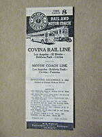 Pacific Electric Pocket Time Table - #8 - Covina Rail Line - 12/3/41