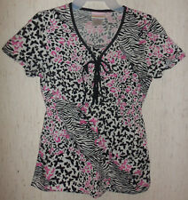 WOMENS SKECHERS ZEBRA LEOPARD & BUTTERFLIES NOVELTY PRINT SCRUBS TOP  SIZE S